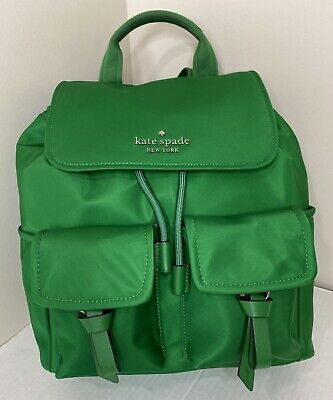 $ CDN148.16 • Buy New Kate Spade New York Carley Flap Backpack Nylon With Leather Green Bean