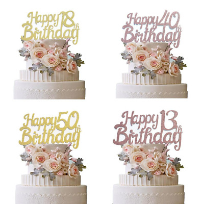 £2.19 • Buy Rose Gold Happy Birthday Cake Topper Age 18th 30th 40th 13th 21th 50th Decor UK