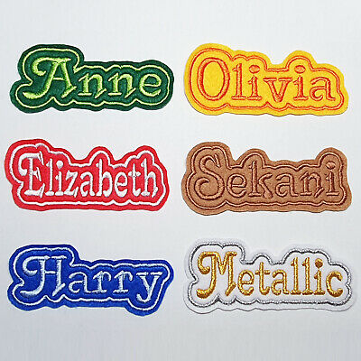 £3.50 • Buy Embroidered Personalised Name Patch Tag, Any Colour 10 Cm By 4 Cm