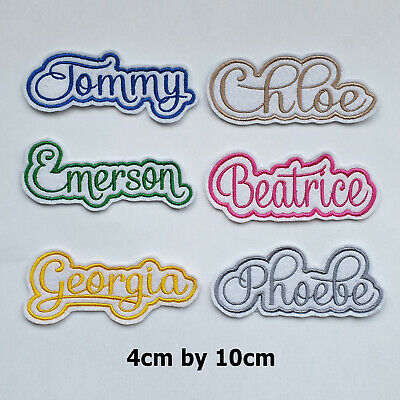 £3.85 • Buy Embroidered Personalised Script Font Name Patch Tag, Any Colour 10 Cm By 4 Cm