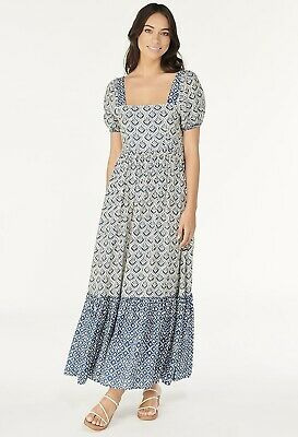 AU150 • Buy BRAND NEW TIGERLILY Vergara Alsina Tie Back Maxi Dress - Bijou Blue 14/L RRP$249