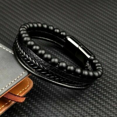 Mens Leather Bracelet Wristband Stainless Steel Magnetic Clasp Jewellery Gift • 4.99£