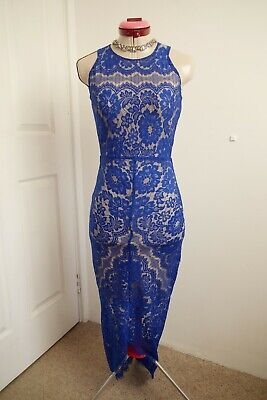 AU89.95 • Buy LUXE By ELLE ZEITOUNE Blue Lace DRESS Size 6 Nude Lining Cocktail Party Evening
