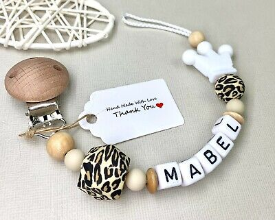 £8.25 • Buy Personalised Baby Dummy Clip Pacifier Chain Silicone Wooden Baby Shower Gift