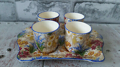 $ CDN17.27 • Buy Royal Winton Grimwades Chintz Marguerite Blue Edging Egg Cups and Plate