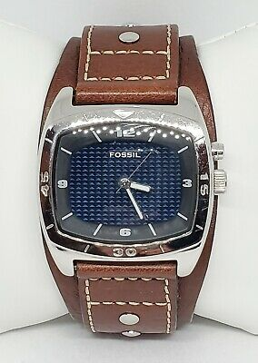 $79.99 • Buy Mens Fossil Kaleido Mirrored Dial Wide Leather Cuff Band Analog Watch AM-3695 C5
