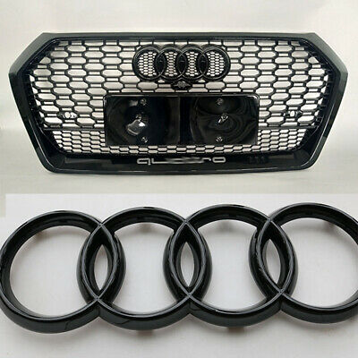£8.99 • Buy Audi 273x94mm Front Badge Emblem Black Gloss Grille Logo Rings Car Accessories