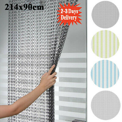 Aluminum Door Curtain Metal Chain Fly Insect Blinds Screen Pest Control 214*90CM • 33.98£
