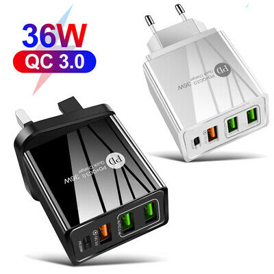 $ CDN10.49 • Buy QC3.0 36W Fast Charging Charger PD USB Type C Wall Adapter 3 Port UK EU US Plug