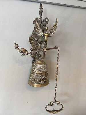 £65 • Buy Large Antique Brass Wall Mounted Hanging Bell With Pull Chain