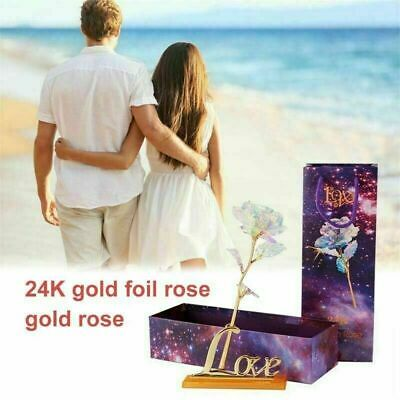 AU11.43 • Buy Galaxy Rose Flower With Love Base Valentine's Day Lovers' Romantic Gift D7U5