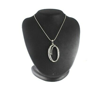 $ CDN18.75 • Buy QVC Silvertone Crystal Accented O Initial Pendant 30  Chain Necklace SOLD OUT