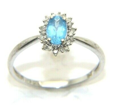 AU187.02 • Buy Women's Ladies 9carat 9ct White Gold Diamond & Topaz Stoned Ring Size O