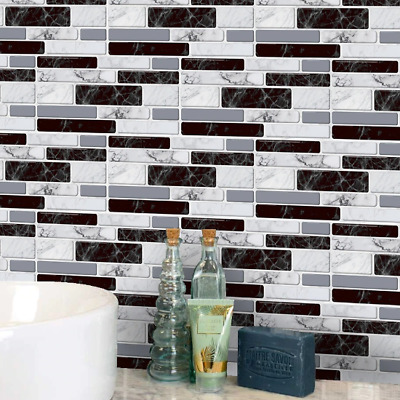Marble Tile Sticker Wall Sticker Wallpaper Oil Proof Peel & Stick For Bathroom  • 10.64£