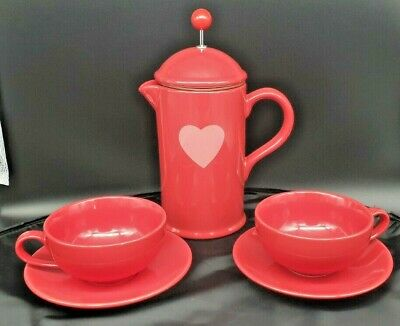 La Cafetiere RED Ceramic Chocolatiere With 2 Matching Mugs & Saucers Set • 22£