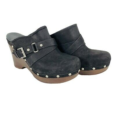£42.47 • Buy UGG 1001315 Natalee Clogs Mules Wedges Shoes Black Leather Studded Heels Size 8
