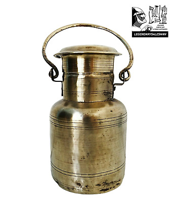 $49.99 • Buy Container Dairy Pail Milk Solid Brass Cream Dairy Lid Antique