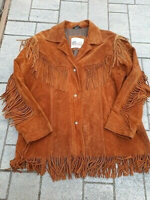 $78.99 • Buy Mens Excelled Brown Leather Fringe Snap Button Western Jacket Duster Size Large