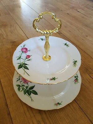 ●●2 Tier Boxed Christine Holm Pink Rose China Cake/sandwich Stand  Free Post  • 26.95£
