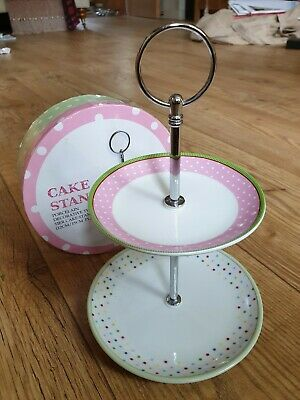 ●●boxed 2tier Porcelain Polka Dot Cake Stand With Hooped Metal Spindle Free Post • 22.95£