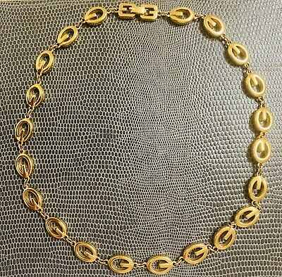 Givenchy Rare Vintage 80s 90s GG 4G Logo Monogram Rich Gold Power Dress Necklace • 225£