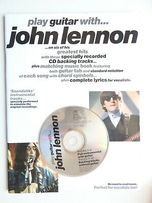 £9.99 • Buy Play Guitar With John Lennon PB With CD Tab Chords Backing Track 6 Songs Beatles