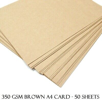 £7.59 • Buy A4 Brown Kraft Card 350gsm Craft Making Thick Paper Cardboard Blanks - 50 Sheets