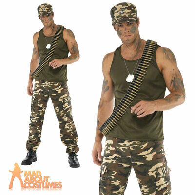 £31.99 • Buy Mens Khaki Camo Army Costume Soldier Fancy Dress Military Camoflage War Outfit