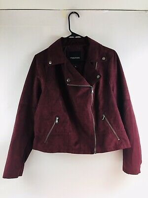 $19.99 • Buy Womens Maurices Faux Suede Maroon Moto Jacket Side Zip Size 0