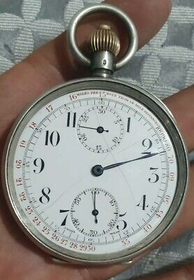 $ CDN1.71 • Buy Solid Silver Military Style Vintage Chronograph Watch.vintage Valjoux 61 Watch
