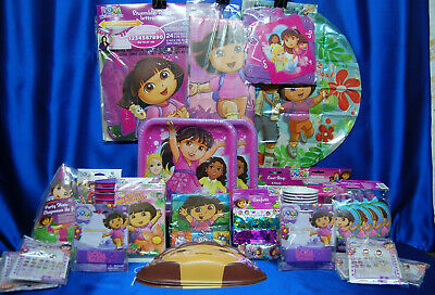 Dora The Explorer Party Set # 50 Cups Plates Napkins Tablecover Invites Bracelet • 35.34£
