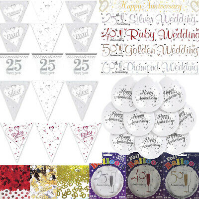 £3.49 • Buy Anniversary Party Banners Balloons Buntings 25 40 50 60 Wedding Decorations Uk