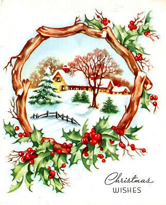 $ CDN4.99 • Buy Vintage Christmas Card:  Yellow Cottage In The Snow