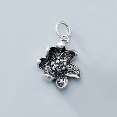 $ CDN18.73 • Buy Oxidized Lotus Flower 925 Sterling Silver Yoga Small Pendant A2558
