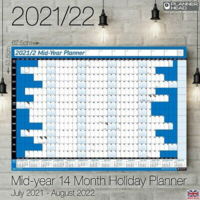 £3.19 • Buy 2021-2022 Mid-Year Wall Calendar A2+ Planner Academic Home Office 14 Months BLUE