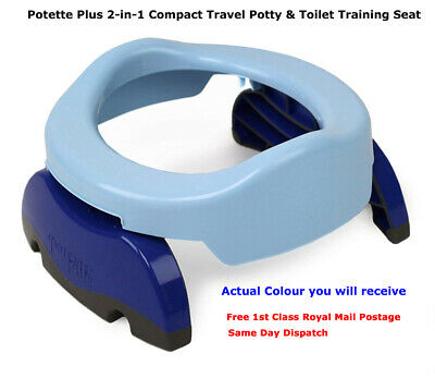 £14.95 • Buy Potette Plus 2 In 1 Portable Potty Trainer Seat In Blue & Navy With Liners