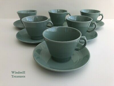 £19.99 • Buy 6 Woods Ware 'beryl' Tea Cups And Saucers - Great Condition