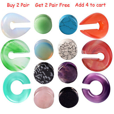$5.99 • Buy 15 Styles Organic Stone Ear Tunnel Plug Double Flared Gauges 2g-5/8  Piercing