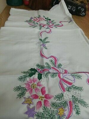 $ CDN21.82 • Buy Vintage Floral Christmas Tablecloth Christmas Season 36 X 36