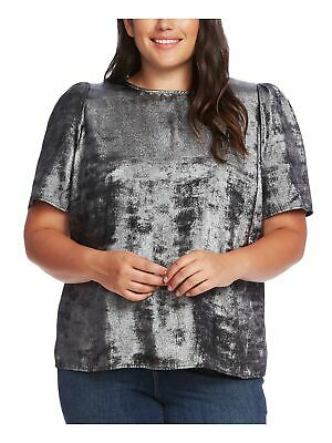 AU25.73 • Buy VINCE CAMUTO Womens Gray Short Sleeve Jewel Neck Evening Top Plus Size: 3X