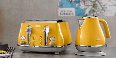 £149.99 • Buy De'Longhi Icona Capitals 1.7L 3000W Jug Kettle And 4-Slice Toaster Set - Yellow