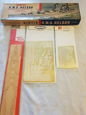 £100 • Buy Vintage Airfix HMS Nelson 1:600 In Type 2 Box + Aftermarket Extras - UK Seller