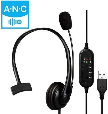 £14.20 • Buy Wired Computer Headset With Microphone Fit Call-Center Office Skype Google Voice