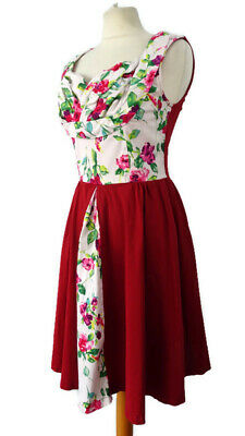 AU28.02 • Buy Lindy Bop Size 12 14 Red White Floral Sleeveless Fifties 50s Flared Dress Party