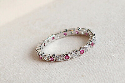 £17 • Buy Ladies Art Deco Solid 925 Sterling Silver Sapphire & Ruby Full Eternity Ring....