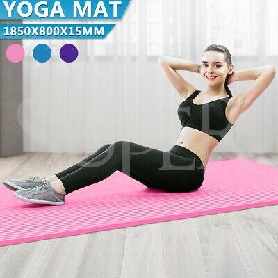 AU22.95 • Buy Yoga Mat Pad 185x80cm NBR Nonslip Exercise Fitness Pilate Gym Durable 15mm Thick