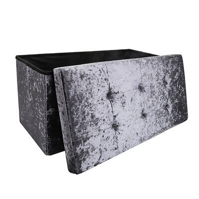 Large 2 Seater Crushed Velvet Foldable Ottoman Storage Box Double Bed Foot Stool • 21.15£
