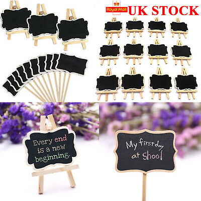 £8.98 • Buy 12Pcs Mini Wooden Blackboard Wedding Party Chalkboard Sign Message Table Stand