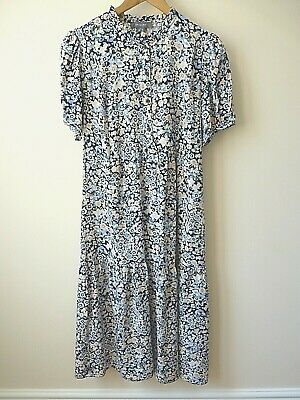 £8 • Buy New Blue,Black&White Floral Print Button Tie Back Tiered Midi Dress Size 8-14