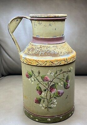 $165 • Buy Primitive Farmhouse Hand Painted Tole Strawberry & Flowers Milk Can Lamp Base